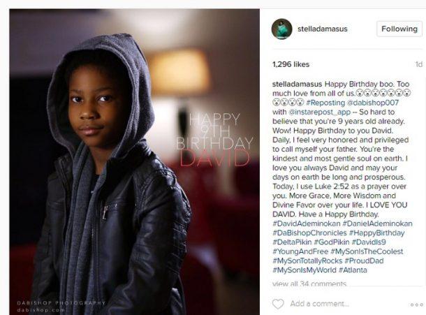 Stella's post on David's birthday