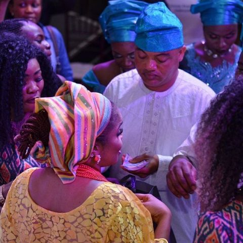 Lola Alao and Olawale Ajibola during her father's burial party